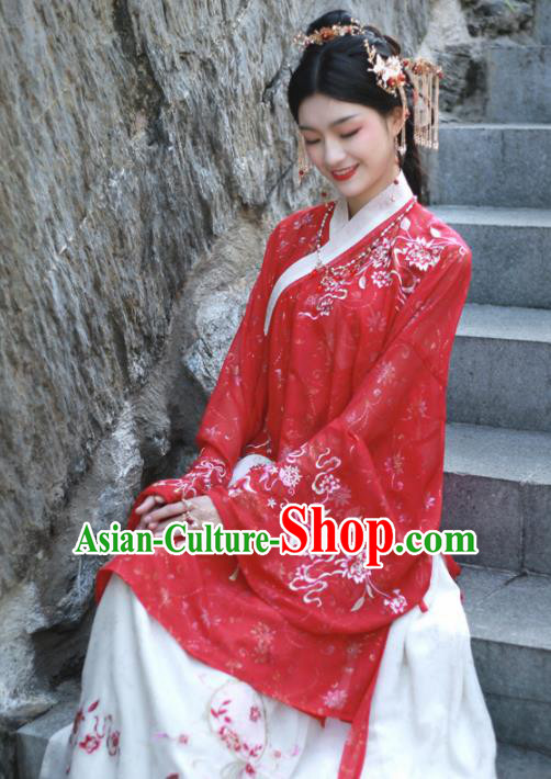 Ancient Chinese Song Dynasty Court Princess Historical Costume Traditional Wedding Embroidered Red Hanfu Dress for Women