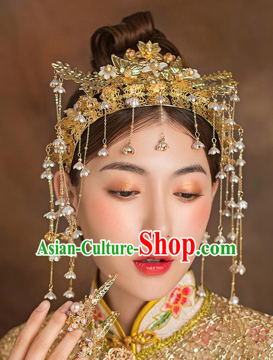 Traditional Chinese Ancient Bride Tassel Hairpins Golden Phoenix Coronet Handmade Wedding Hair Accessories for Women