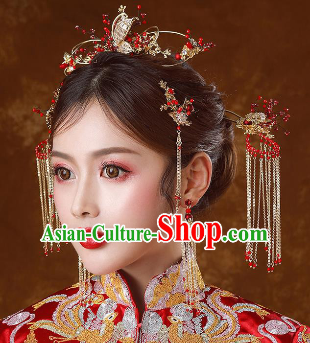 Traditional Chinese Ancient Bride Tassel Hairpins Butterfly Hair Comb Handmade Wedding Hair Accessories for Women