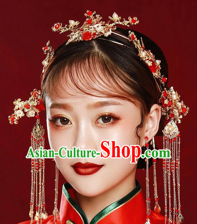 Traditional Chinese Ancient Bride Tassel Hairpins Red Agate Hair Crown Handmade Wedding Hair Accessories for Women