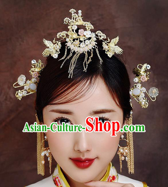 Traditional Chinese Ancient Bride Tassel Hairpins Crane Pine Hair Crown Handmade Wedding Hair Accessories for Women