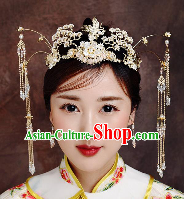 Traditional Chinese Ancient Bride Tassel Hairpins Crane Pine Phoenix Coronet Handmade Wedding Hair Accessories for Women
