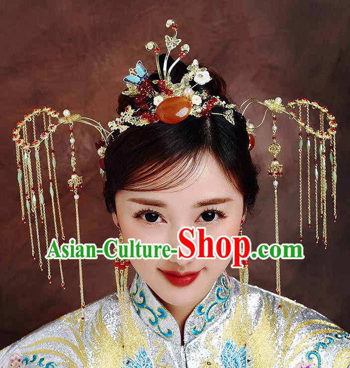 Traditional Chinese Ancient Bride Tassel Hairpins Phoenix Coronet Handmade Wedding Hair Accessories for Women