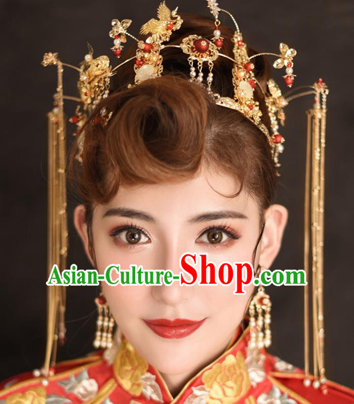 Traditional Chinese Ancient Tassel Phoenix Coronet Bride Hairpins Handmade Wedding Hair Accessories for Women