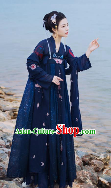 Ancient Chinese Tang Dynasty Court Princess Historical Costume Traditional Palace Dance Navy Hanfu Dress for Women
