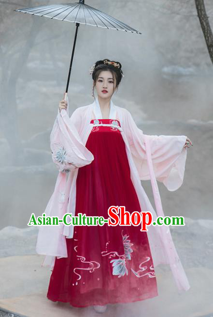 Chinese Tang Dynasty Princess Historical Costume Traditional Ancient Court Dance Red Hanfu Dress for Women