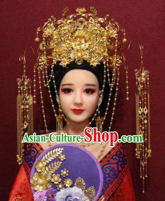 Traditional Chinese Ancient Queen Hanfu Luxury Golden Phoenix Coronet Bride Hairpins Handmade Wedding Hair Accessories for Women