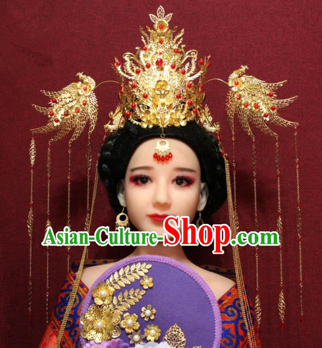 Traditional Chinese Ancient Queen Hanfu Luxury Phoenix Coronet Bride Hairpins Handmade Wedding Hair Accessories for Women