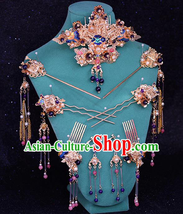 Traditional Chinese Ancient Hanfu Cloisonne Hair Crown Bride Hairpins Handmade Wedding Hair Accessories for Women
