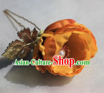 Traditional Chinese Ancient Princess Orange Camellia Hair Clips Hairpins Handmade Hanfu Hair Accessories for Women