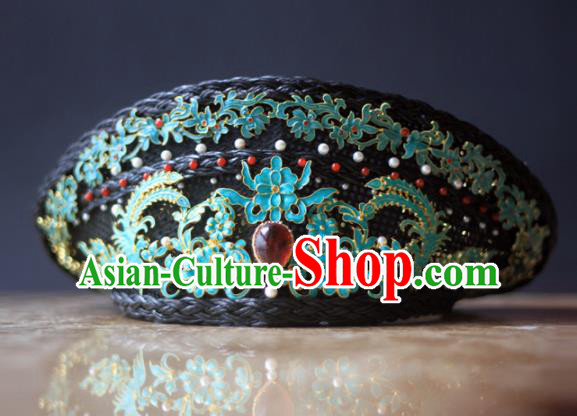 Traditional Chinese Ancient Qing Dynasty Queen Hat Hairpins Handmade Court Hair Accessories for Women