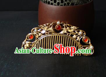 Traditional Chinese Ancient Princess Agate Golden Hair Comb Hairpins Handmade Hanfu Hair Accessories for Women