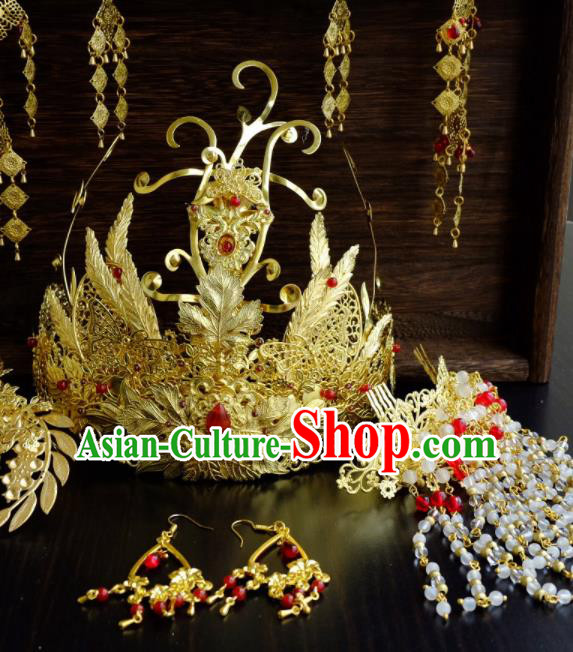 Traditional Chinese Ancient Bride Phoenix Coronet Tassel Hairpins Handmade Wedding Hair Accessories for Women