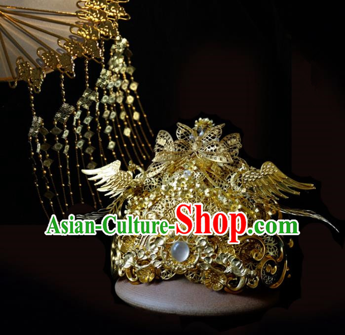Traditional Chinese Ancient Bride Golden Phoenix Coronet Hairpins Handmade Wedding Hair Accessories for Women