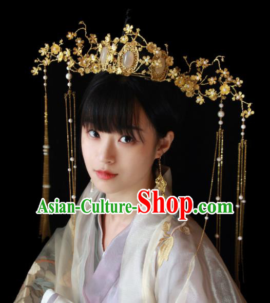 Traditional Chinese Ancient Bride Opal Phoenix Coronet Hairpins Handmade Wedding Hair Accessories for Women