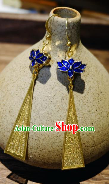 Traditional Chinese Ancient Princess Blueing Lotus Tassel Earrings Handmade Hanfu Jewelry Accessories for Women