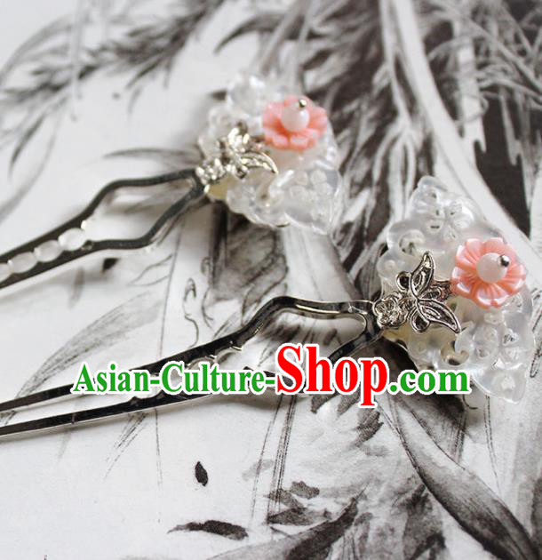 Traditional Chinese Ancient Hanfu Pink Shell Butterfly Hair Clip Princess Hairpins Handmade Hair Accessories for Women