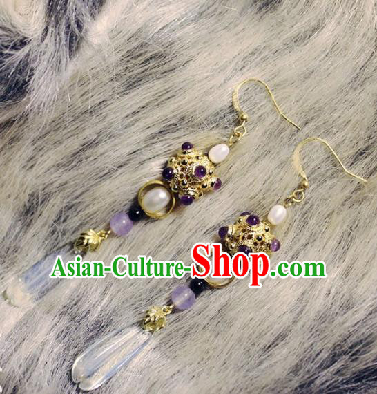 Handmade Chinese Ancient Princess Pearls Earrings Traditional Hanfu Jewelry Accessories for Women