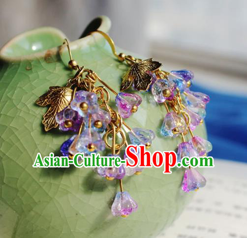 Handmade Chinese Ancient Princess Purple Crystal Earrings Traditional Hanfu Jewelry Accessories for Women