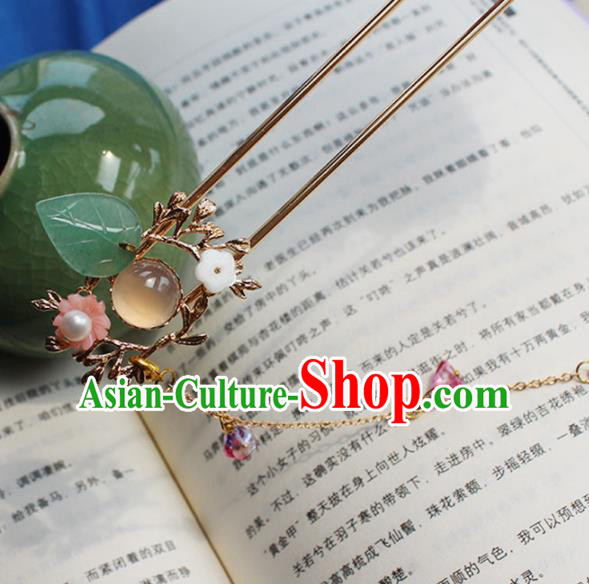 Chinese Ancient Hanfu Rose Chalcedony Hair Clip Princess Tassel Hairpins Traditional Handmade Hair Accessories for Women