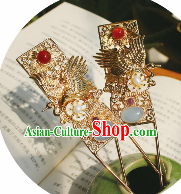 Chinese Ancient Hanfu Golden Crane Hair Clip Princess Hairpins Traditional Handmade Hair Accessories for Women