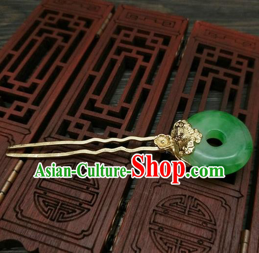 Traditional Chinese Ancient Queen Hanfu Jade Hairpins Handmade Wedding Hair Accessories for Women
