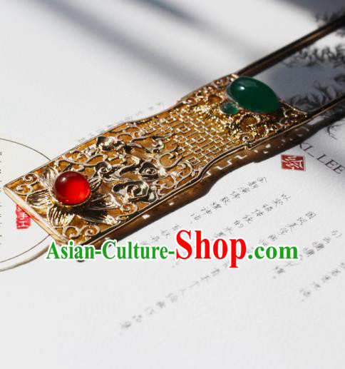 Chinese Ancient Hanfu Agate Golden Hair Clip Princess Hairpins Traditional Handmade Hair Accessories for Women