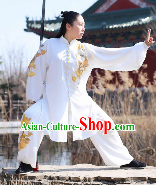 Traditional Chinese Martial Arts Embroidered Ginkgo Costume Professional Tai Chi Competition Kung Fu Uniform for Women