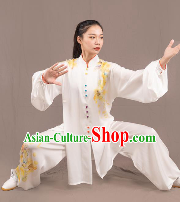 Traditional Chinese Martial Arts Embroidered White Costume Professional Tai Chi Competition Kung Fu Uniform for Women