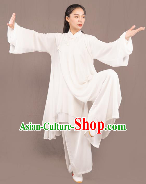 Traditional Chinese Martial Arts White Costume Professional Tai Chi Competition Kung Fu Uniform for Women
