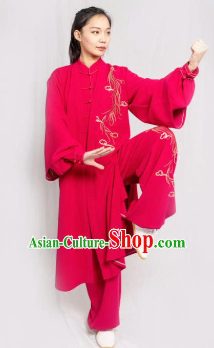 Traditional Chinese Martial Arts Embroidered Rosy Costume Professional Tai Chi Competition Kung Fu Uniform for Women