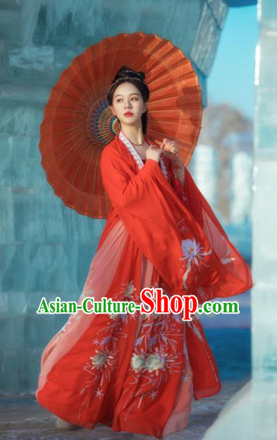 Chinese Traditional Wedding Historical Costume Ancient Song Dynasty Court Princess Embroidered Red Hanfu Dress for Women