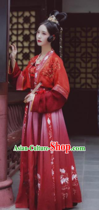 Chinese Traditional Tang Dynasty Princess Wedding Historical Costume Ancient Court Embroidered Red Hanfu Dress for Women
