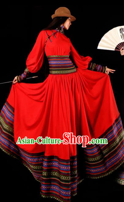 Chinese National Mongol Nationality Red Dress Traditional Mongolian Ethnic Costume for Women