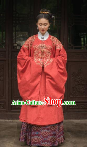 Chinese Traditional Ming Dynasty Empress Wedding Red Historical Costume Ancient Royal Queen Embroidered Dress for Women
