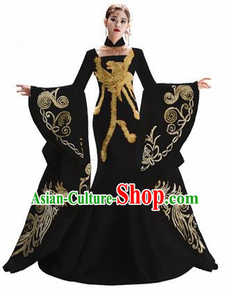 Chinese National Catwalks Embroidered Phoenix Black Cheongsam Traditional Costume Tang Suit Trailing Qipao Dress for Women