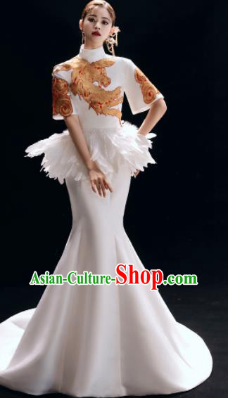 Chinese National Catwalks White Trailing Cheongsam Traditional Costume Tang Suit Embroidered Phoenix Qipao Dress for Women