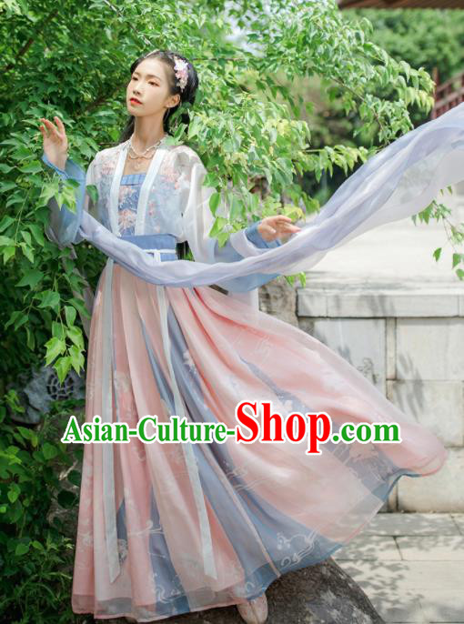 Chinese Traditional Ancient Nobility Lady Embroidered Hanfu Dress Tang Dynasty Historical Costume for Women