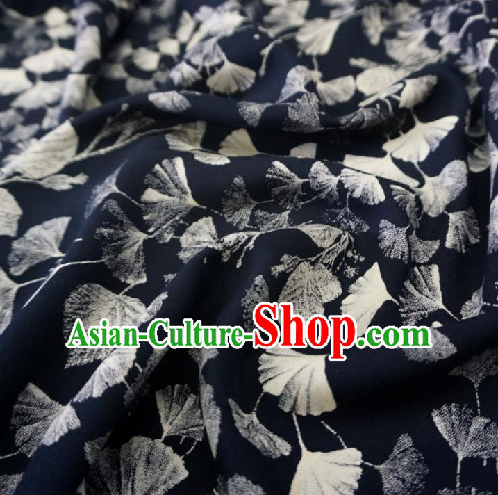 Asian Chinese Traditional Ginkgo Leaf Pattern Design Black Watered Gauze Cheongsam Silk Fabric Chinese Fabric Material