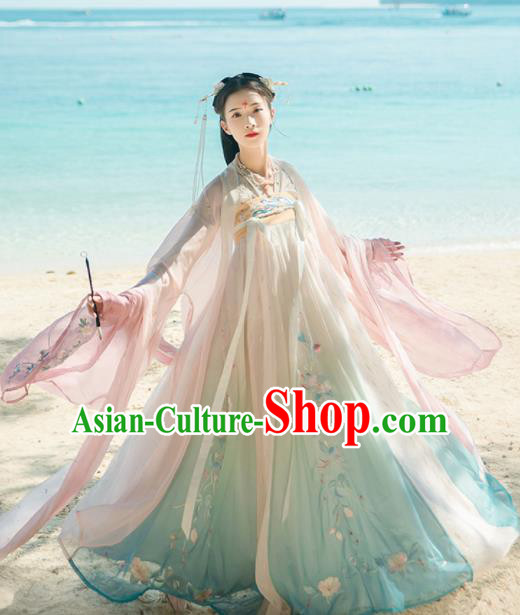 Chinese Ancient Palace Princess Embroidered Hanfu Dress Traditional Tang Dynasty Court Lady Historical Costume for Women