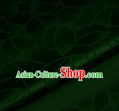 Chinese Classical Petals Pattern Design Green Brocade Satin Cheongsam Silk Fabric Chinese Traditional Satin Fabric Material
