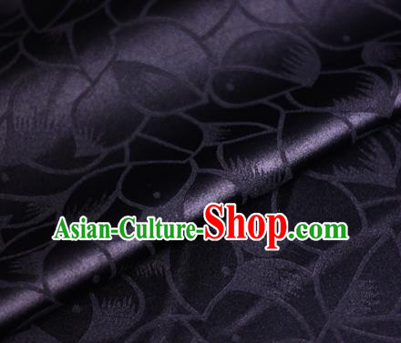 Chinese Classical Petals Pattern Design Black Brocade Satin Cheongsam Silk Fabric Chinese Traditional Satin Fabric Material