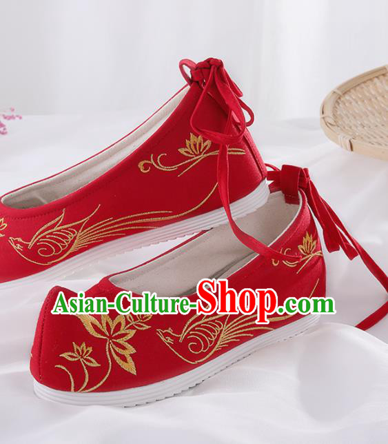 Chinese Traditional Hanfu Shoes Embroidered Lotus Red Shoes Handmade Ancient Princess Shoes for Women