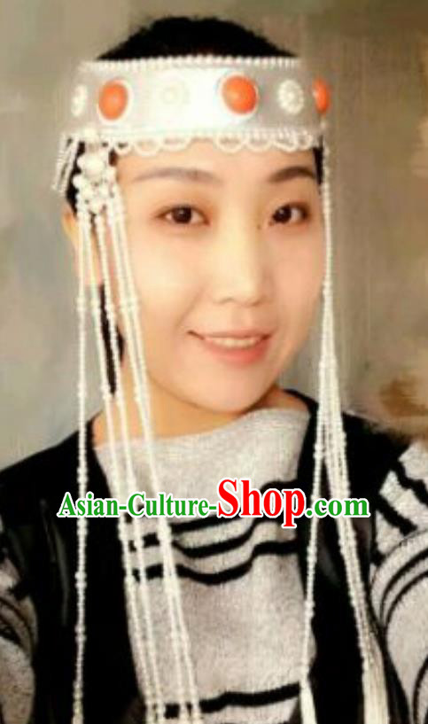 Chinese Traditional Mongol Nationality Princess Hair Accessories Mongolian Ethnic Wedding Royal Crown Headwear for Women