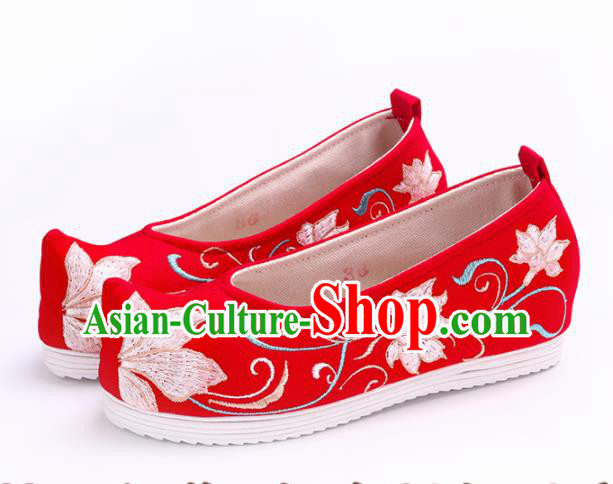 Chinese Traditional Hanfu Cloth Shoes Embroidered Lotus Red Shoes Handmade Ancient Princess Shoes for Women