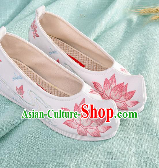 Chinese Traditional Hanfu Cloth Shoes Embroidered Pink Lotus Shoes Handmade Ancient Princess Shoes for Women