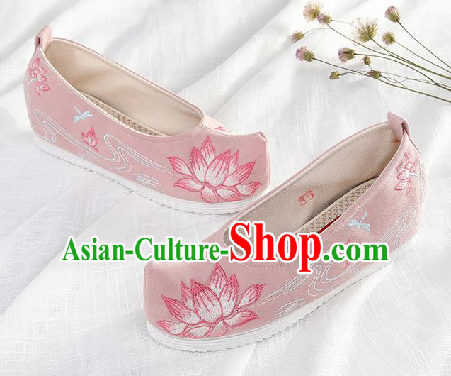 Chinese Traditional Hanfu Pink Cloth Shoes Embroidered Lotus Shoes Handmade Ancient Princess Shoes for Women