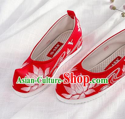 Chinese Traditional Hanfu Red Cloth Shoes Embroidered Lotus Shoes Handmade Ancient Princess Shoes for Women