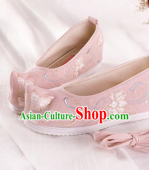 Chinese Traditional Hanfu Cloth Shoes Embroidered Lotus Pink Shoes Handmade Ancient Princess Shoes for Women