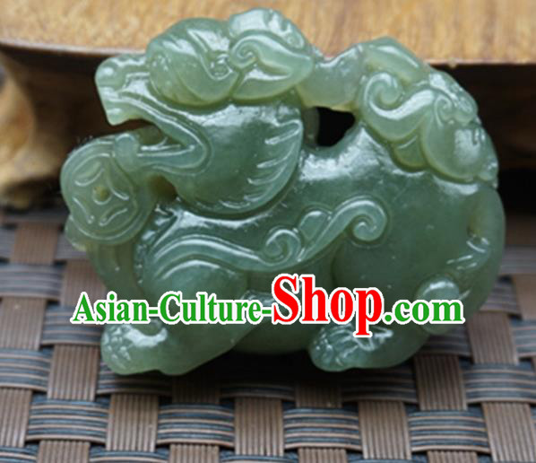 Chinese Handmade Jade Craft Carving Pi Xiu Jade Jewelry Accessories Jade Necklace Pendant